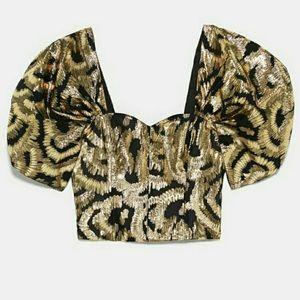 Nwt Zara gold lame puff sleeve top